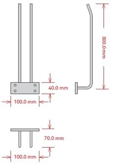 Glashängare, 30 cm, Krom, Tak